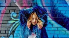 girl with blue jacket