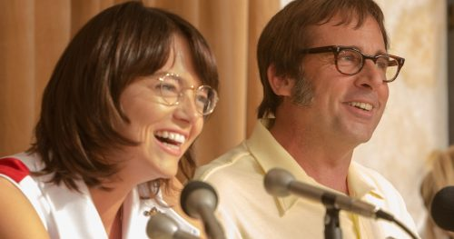 """Emma Stone as """"Billie Jean King"""" and Steve Carell as """"Bobby Riggs"""" in BATTLE OF THE SEXES. Photo by Melinda Sue Gordon. © 2017 Twentieth Century Fox Film Corporation All Rights Reserved"""